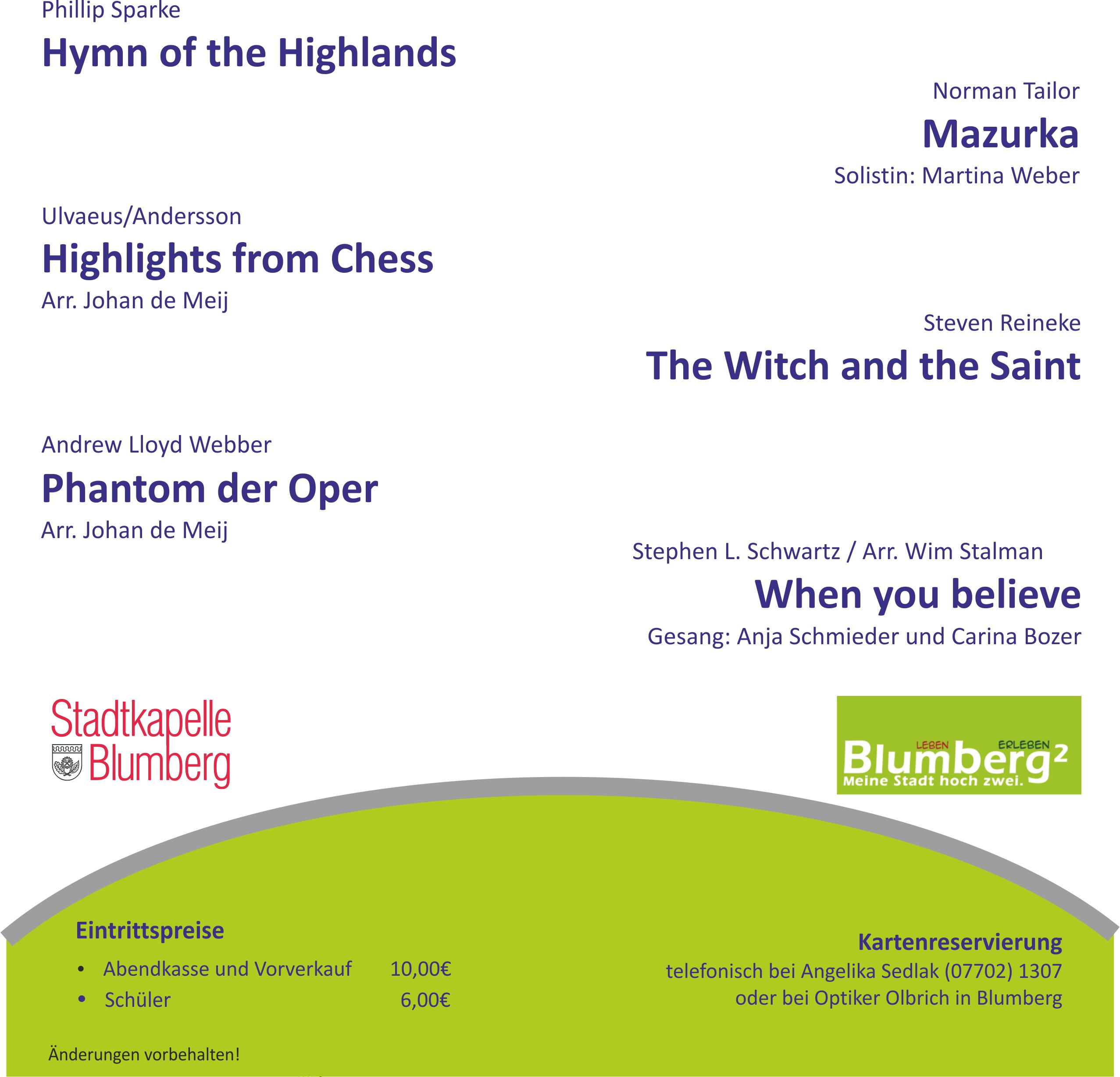 Programm des Kirchenkonzert